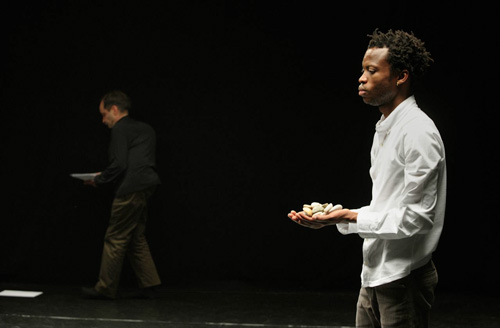 Raimund Hoghe and Faustin Linyekula, photo by Rosa Frank